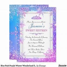 Light Blue Sweet 16 Invitations Blue Pink Purple Winter Wonderland Sweet 16 Invite