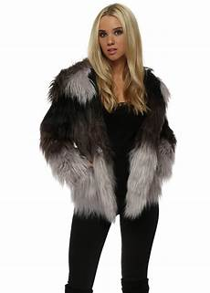 coats with faux black grey faux fur hooded jacket coats