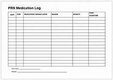 Med Sheet Template Prn Medication Record Sheet Amp Log Printable Medical
