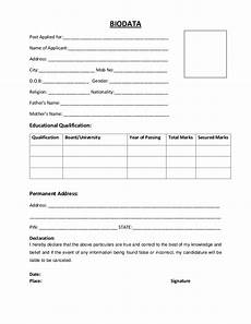 Bio Data Sample Biodata Resume Format