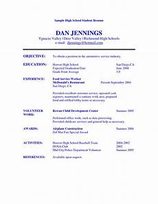 Sample Resumes For High School Graduates High School Student Resume Objective Examples Student