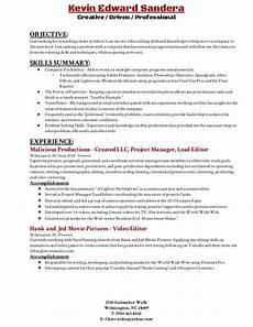 Edit Resume For Free Video Editing Resume