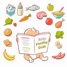 Baby Feeding Guide Little Baby Reading Food Guide Stock Vector Illustration