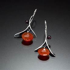 Kinzig Design Jewelry Branch Earrings With Drop Orange Kinzig Design Studios