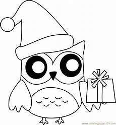 Ausmalbilder Eule Weihnachten Owl With Presents Coloring Page Free Animals