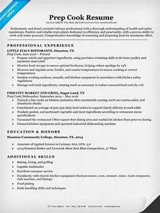 Example Of Cook Resume Prep Cook Resume Sample Amp Writing Tips Resume Companion