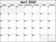 Blank 2020 Calendar By Month April 2020 Blank Calendar Templates