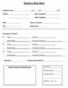 Employment Contact Form Employee Information Sheet