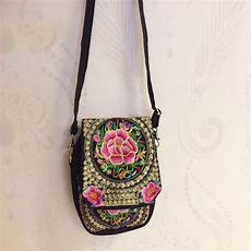 small embroidered canvas vintage shoulder bag top tier style