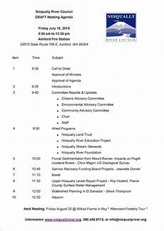 Draft Agenda Template July Nrc Meeting Agenda Draft Nisqually River Council