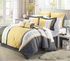 14 oversize gray white yellow embroidery comforter