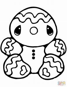 tiny gingerbread coloring page free printable