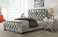 crushed velvet fabric upholstered bed frame 4 6ft