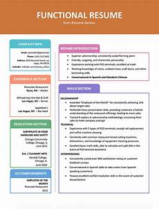 Types Of Resume Format Sample Functional Resume Template Examples And Writing Guide