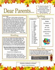 Examples Of Newsletters For Parents From Teachers Dear Parents Weekly Parent Teacher Newsletter By Megana Tpt