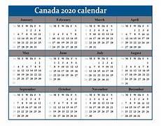2020 Calendar Canada Free 2020 Printable Canada Calendar Template Pdf Excel