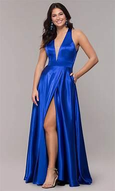 royal blue satin formal dress with pockets