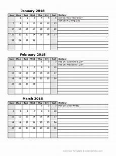 Calendar Template 3 Months Per Page 2018 Three Month Calendar Template Free Printable Templates