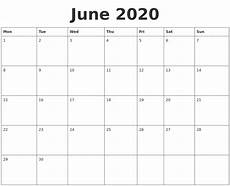 June 2020 Blank Printable Calendar June 2020 Blank Calendar Template