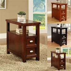 bed and bath wooden narrow end table with drawers