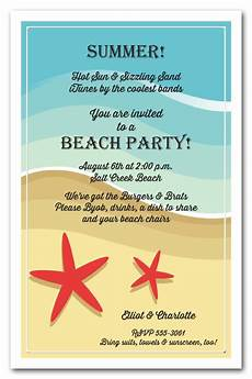 Beach Party Invitation Wording Red Starfish On The Beach Tropical Party Invitations