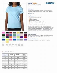 Gildan 5400 Size Chart Gildan 2000l Ultra Cotton Ladies T Shirt Blank