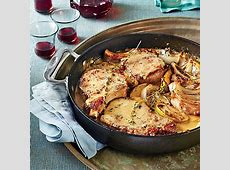 Skillet Pork Chops with Apples and Onions Recipe   MyRecipes