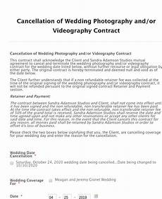 Cancellation Of Contract Wedding Photography Contract Cancellation Form Template