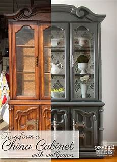 china cabinet makeover with wallpaper china cabinet