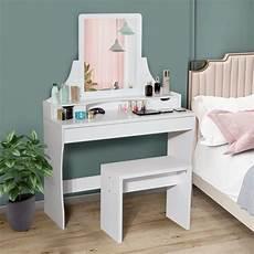 3 drawers white square vanity mirror wooden makeup