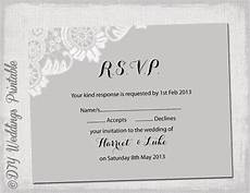 Rsvp Cards Examples Wedding Rsvp Template Download Diy Silver Gray Antique