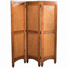 mid century three fold screen split bamboo and maple at