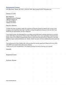 Cover Letter For Security Position Security Guard Cover Letter Template