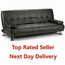 large italian style faux leather sofa bed on chrome