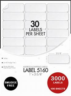 Avery 30 Per Page Labels Avery 5160 Compatible Address Labels 100 Sheets 30