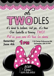 Second Birthday Party Invitations Minnie Mouse Tan Birthday Invite 2nd Birthday