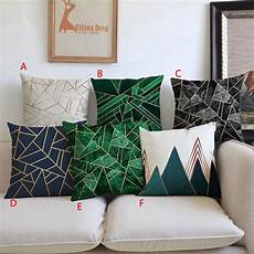 decorative pillow geometric patterns green cushion