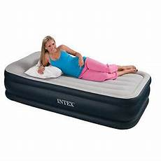 intex deluxe raised air bed airbed mattress single built