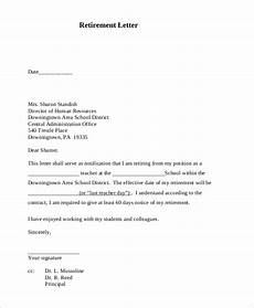 Retirement Letters Examples Free 9 Sample Retirement Letter Templates In Pdf Ms Word