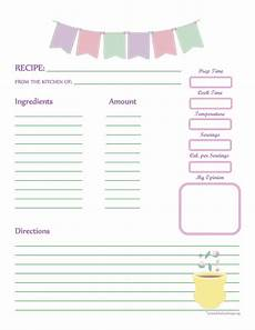 recipe card template for pages fabric bunting recipe card page printable recipe