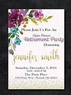 Template For Retirement Party Invitation Retirement Party Floral Invitation Purple And Gold