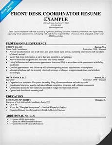 Resume For Front Desk Position Front Desk Coordinator Resume Sample Resume Pinterest