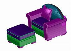 Sofa With Storage Space 3d Image by 3d Sofa With Storage Stool Dwg File Cadbull