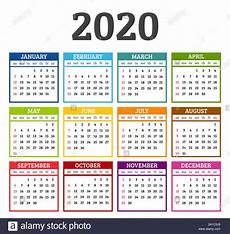 Week Calander Colorful Calendar 2020 Year Week Starts From Sunday