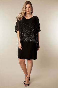 size 16 clothes black studded layered cape dress plus size 16 to 36