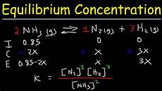 Chemistry Concentration Problems How To Calculate The Equilibrium Concentration Amp Partial