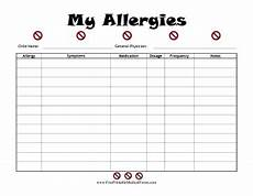 Allergy Chart For Child Care Great For Family Medical Logs This Illustrated Record