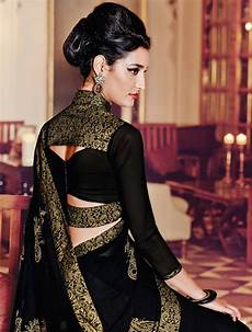Black Georgette Designer Saree Buy Black Embroidered Georgette Saree With Blouse Online
