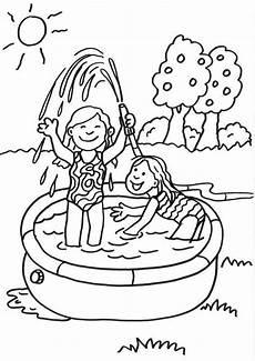 kostenlose malvorlage sommer kinder im planschbecken