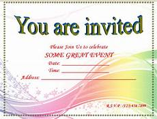 Free Party Invite Templates For Word Blank Invitation Templates Free Printable